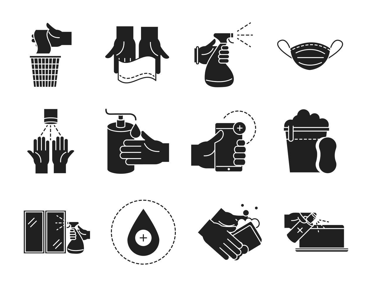 raccolta pulizia e disinfezione silhouette pittogramma icone vettore