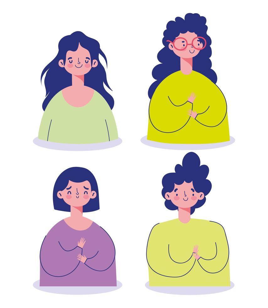 set di avatar di personaggi femminili vettore