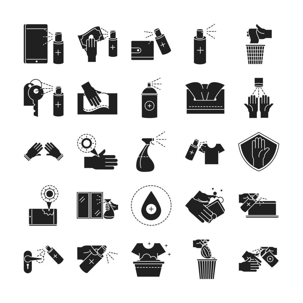 set di icone di pulizia e disinfezione silhouette pittogramma vettore