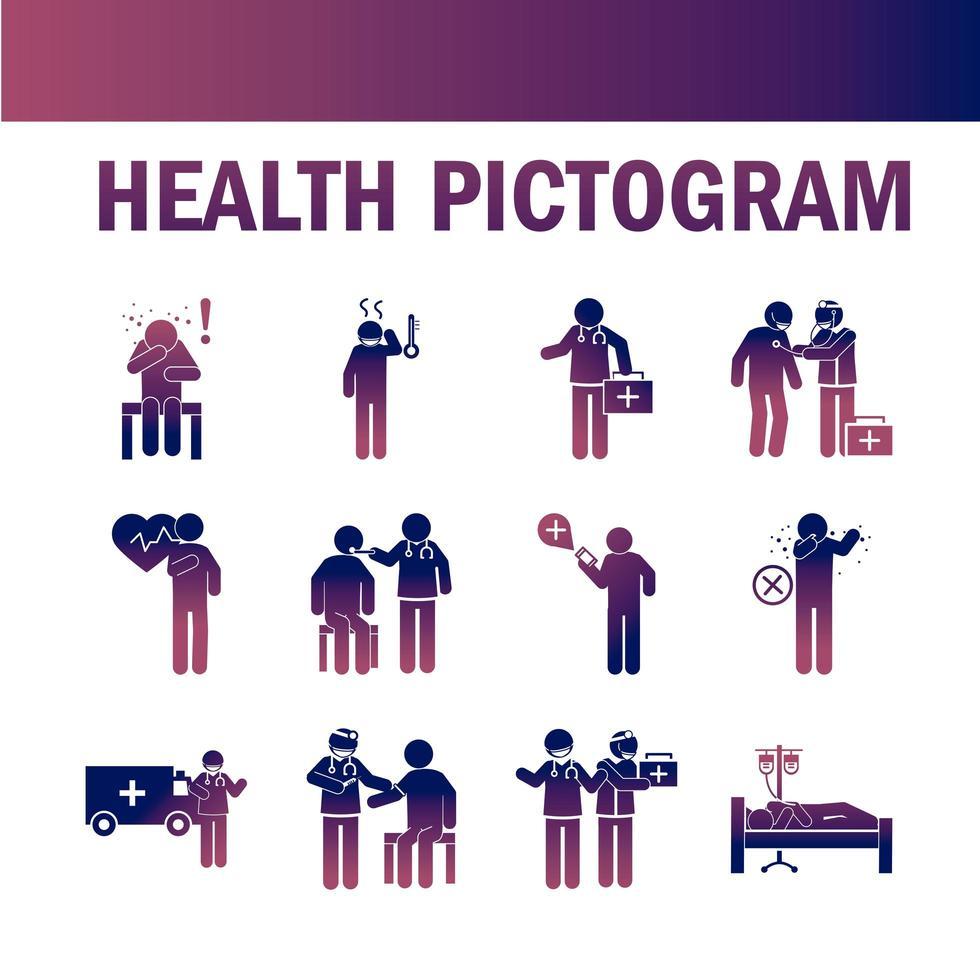 pittogramma sanitario e raccolta di icone mediche su gradiente di colore vettore