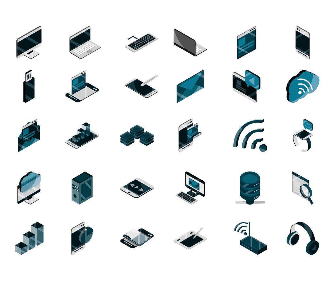 set di icone isometriche di dispositivi elettronici e digitali vettore