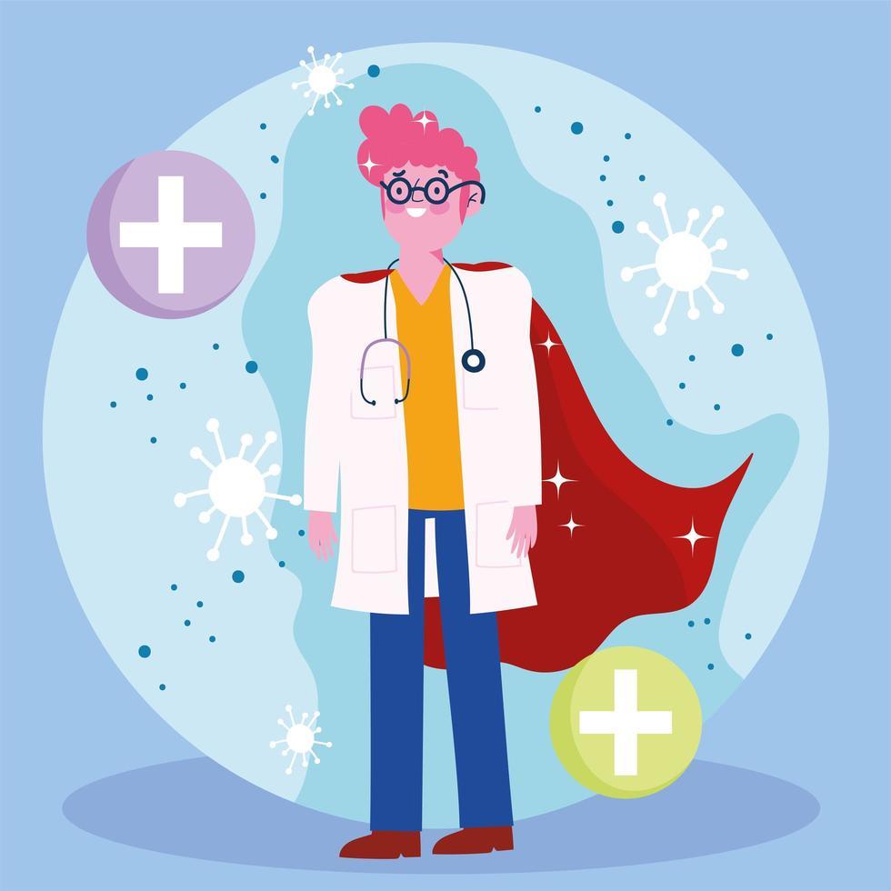 medico come un supereroe con simboli medici vettore