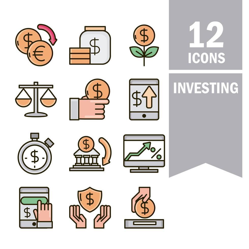 linea di business economia e investimento e collezione di icone di colore di riempimento vettore