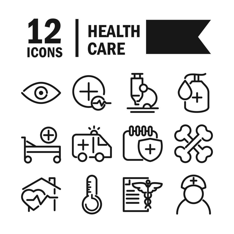 set di icone pittogramma linea di assistenza sanitaria vettore