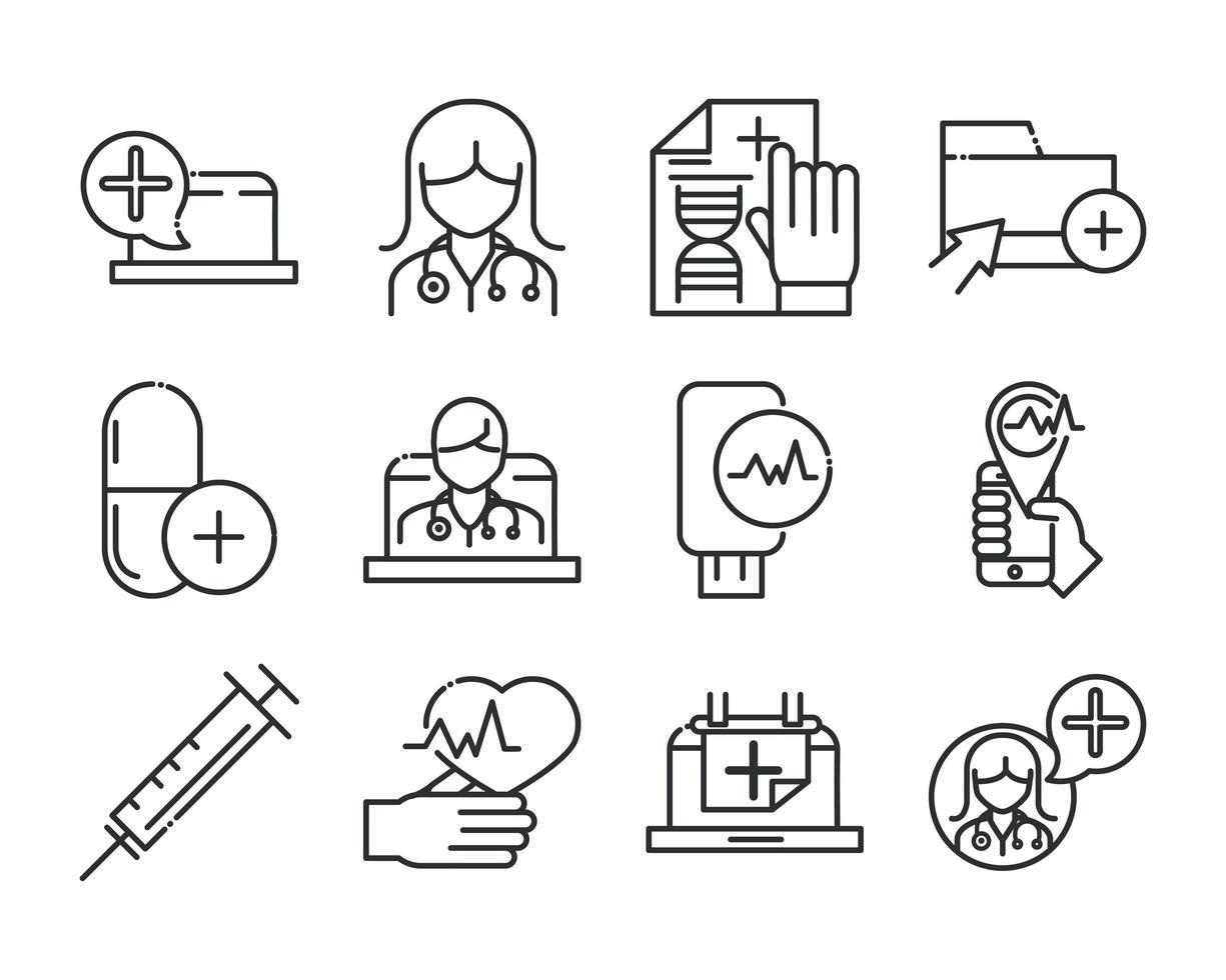 icon pack di assistenza sanitaria e assistenza medica online vettore