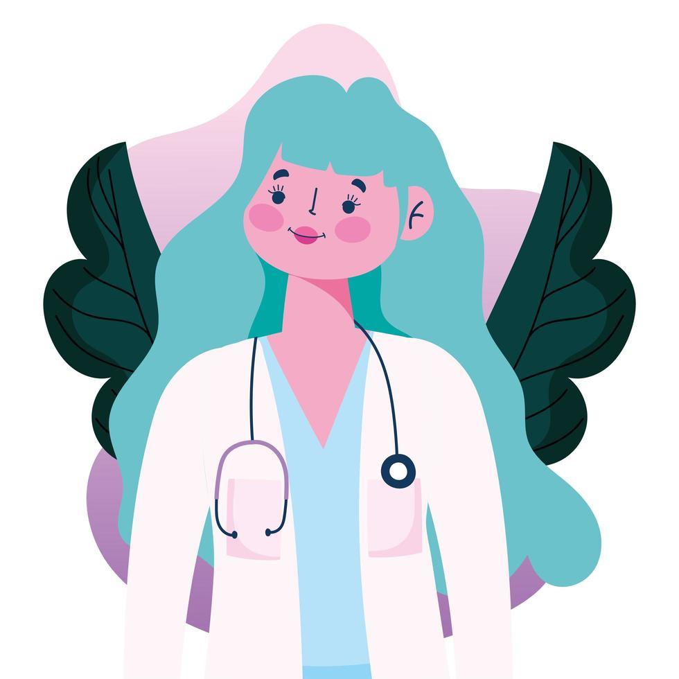 dottoressa con stetoscopio e cappotto stile piatto avatar vettore