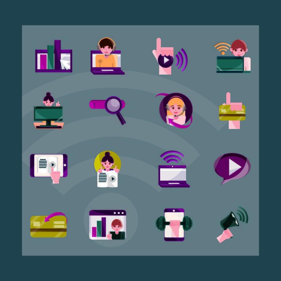 attività online e icona di comunicazione digitale impostata su sfondo scuro vettore
