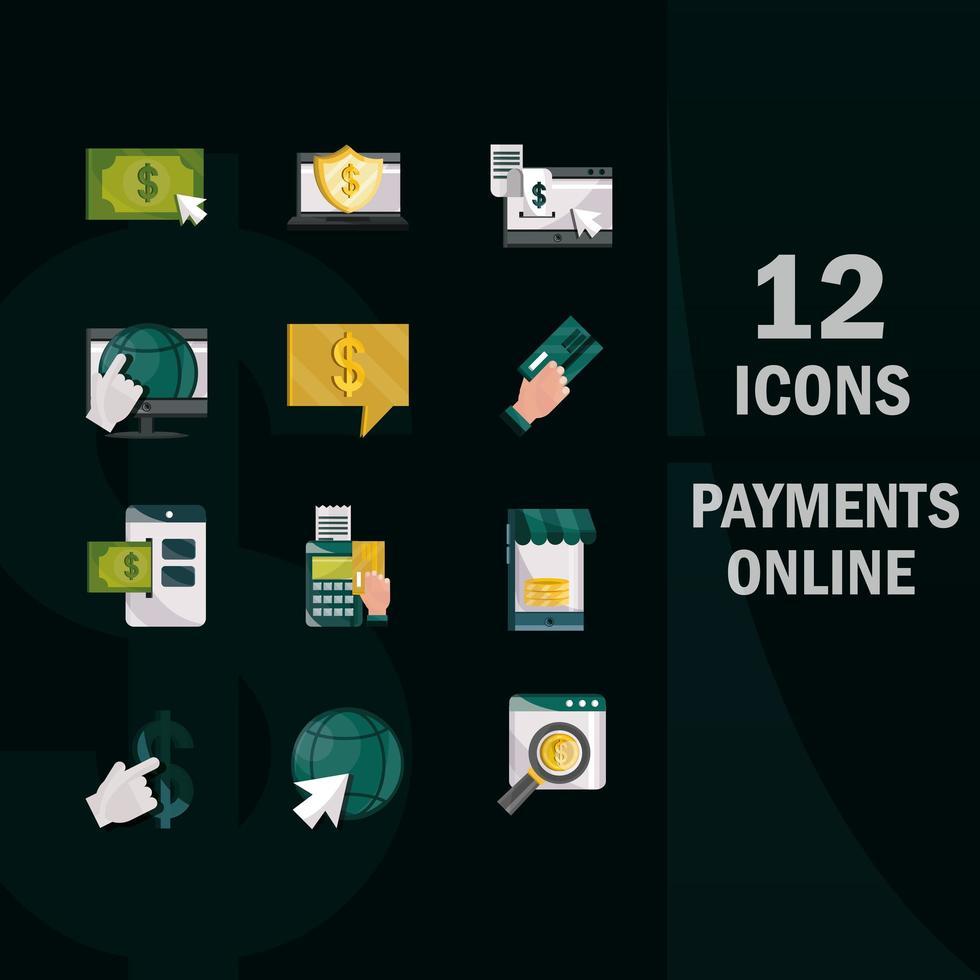 pacchetto di icone in stile piatto di pagamento e finanze online su sfondo nero vettore