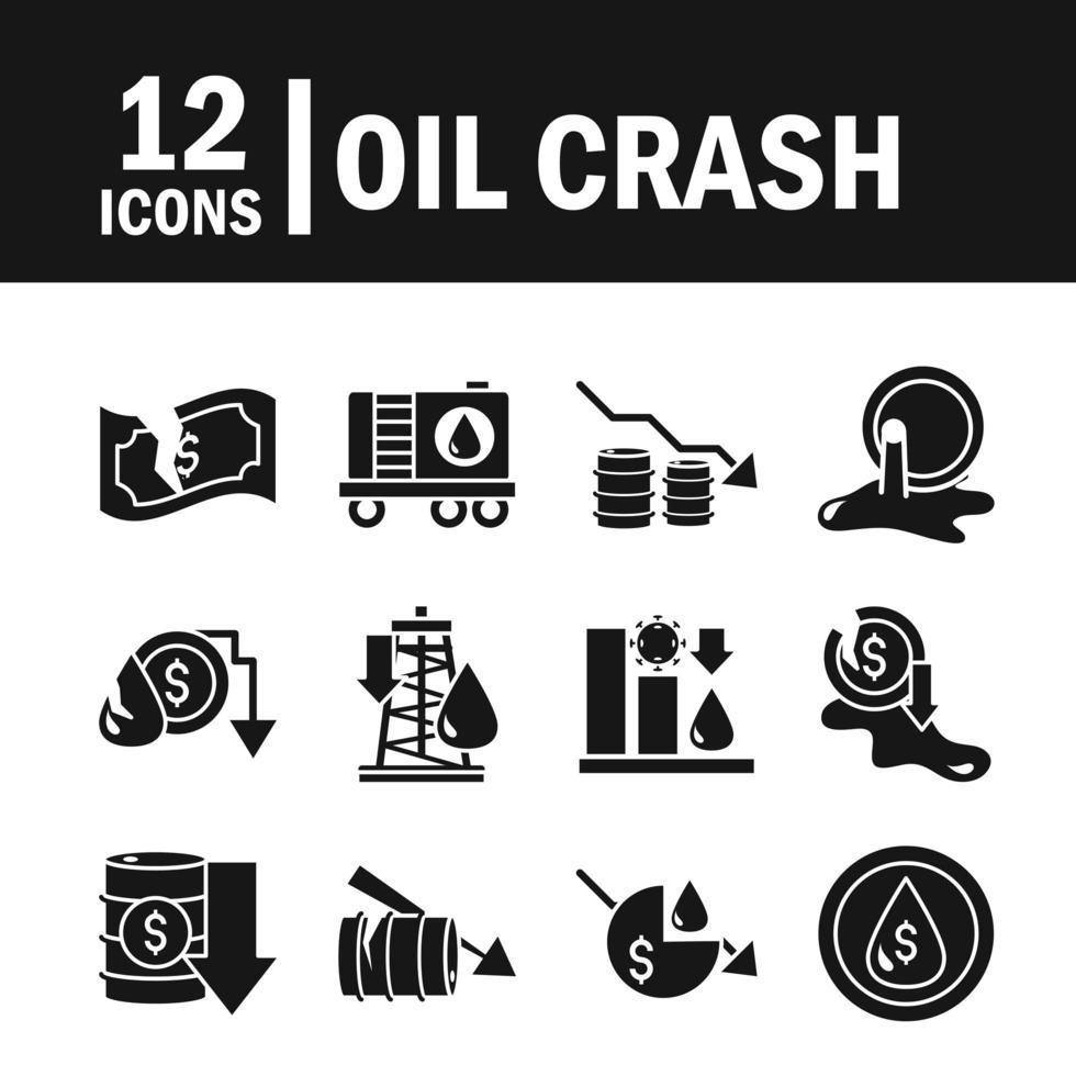 set di icone di crisi petrolifera e crisi economica vettore