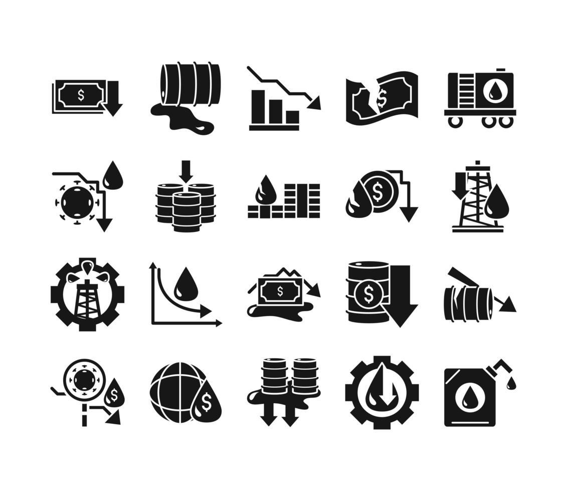 collezione di icone di crisi petrolifera e crisi economica vettore