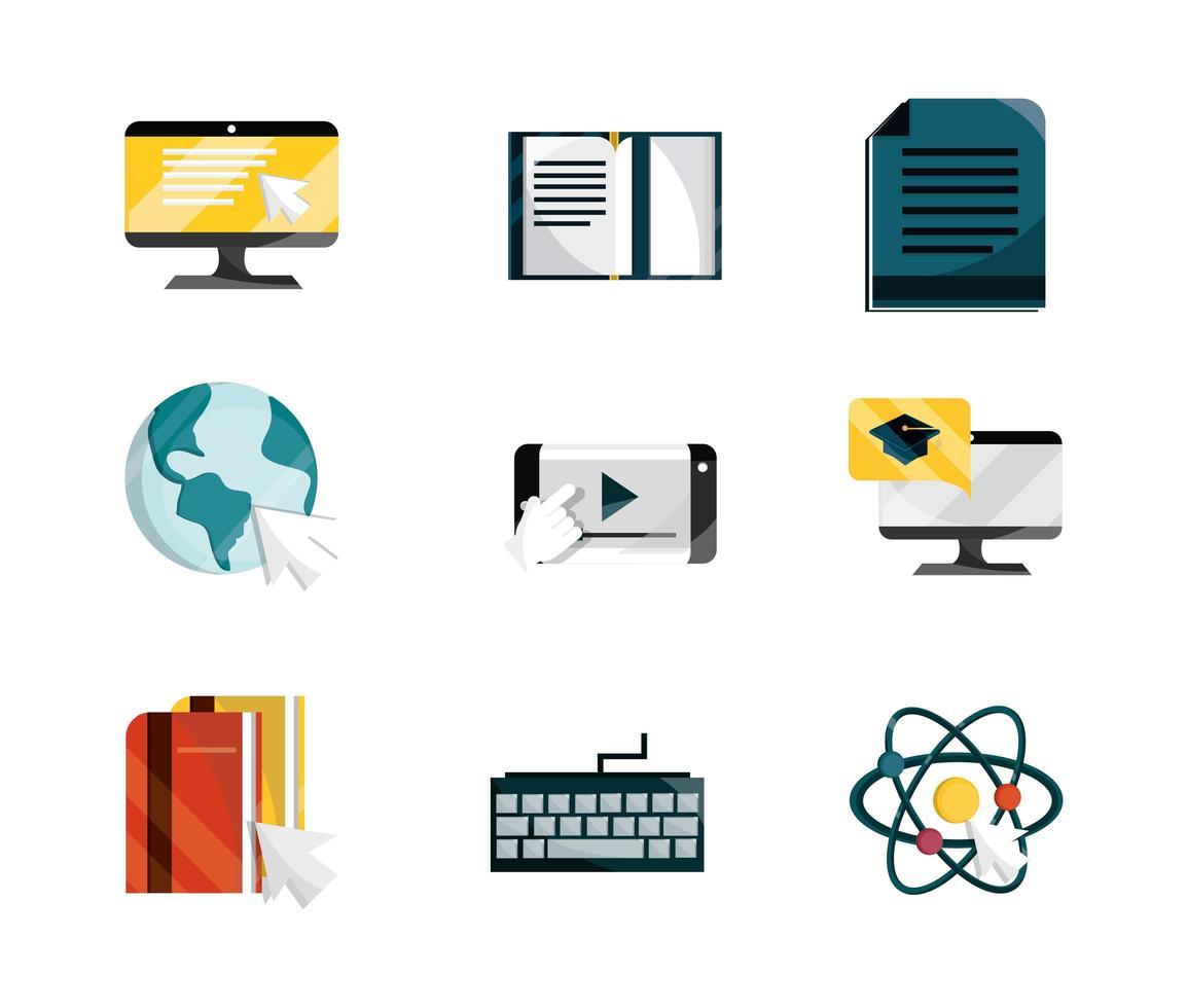 collezione di icone in stile piatto di formazione online vettore