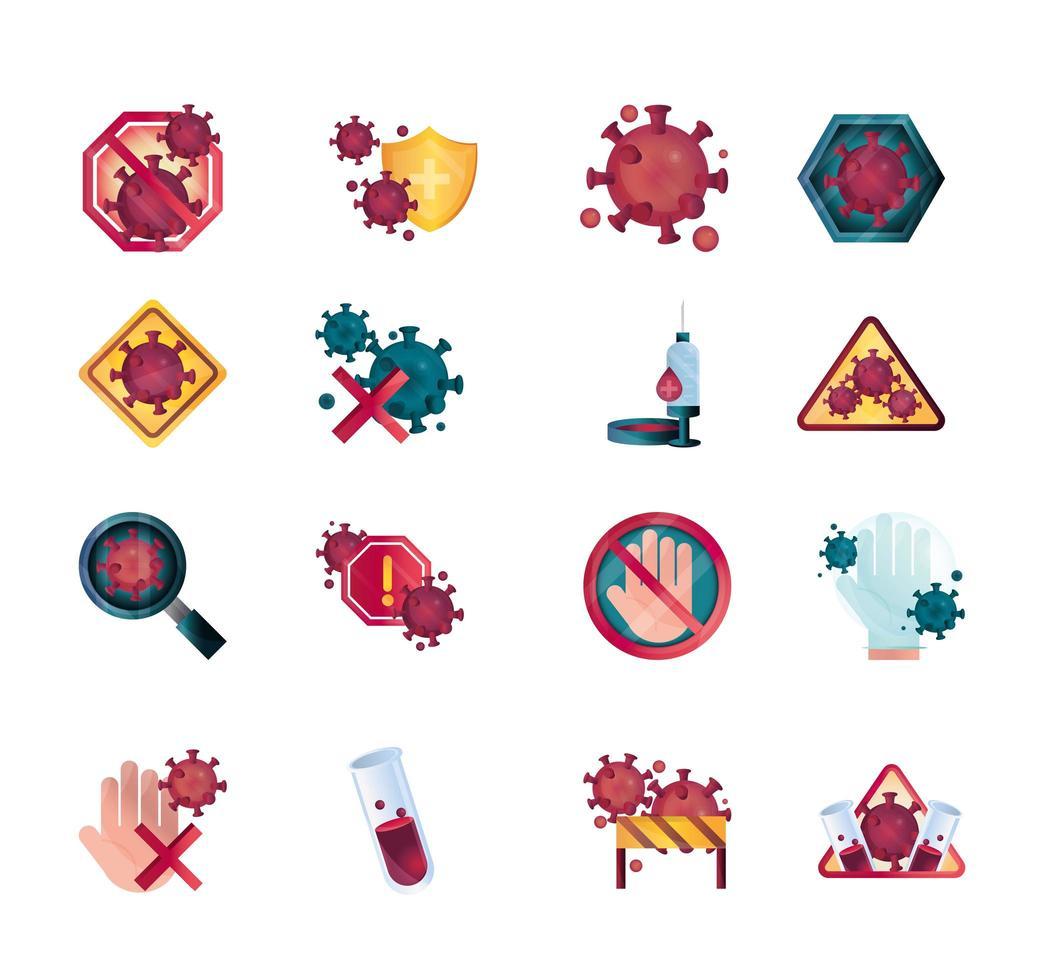 set di icone di controllo del coronavirus e delle infezioni virali vettore