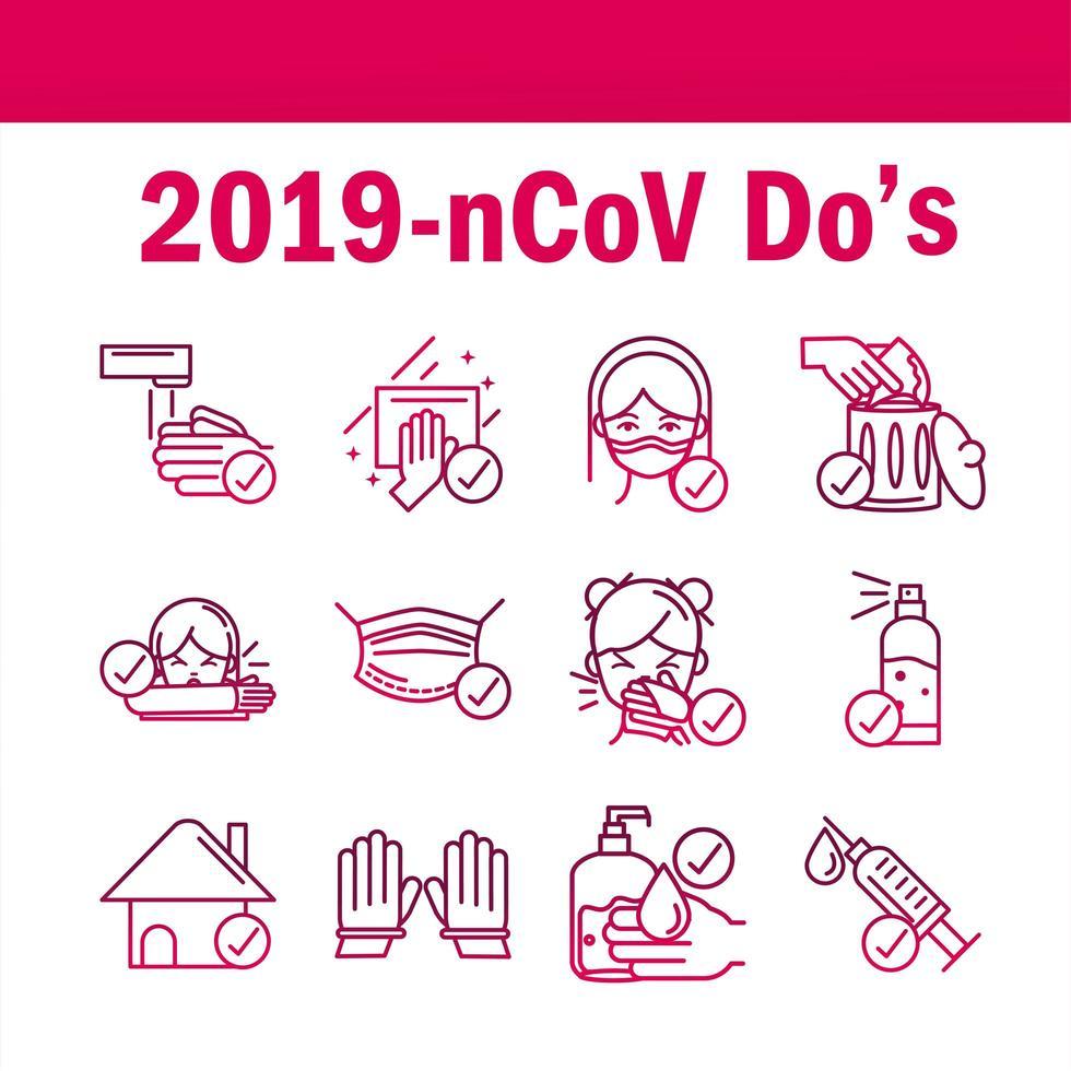 un set di icone di prevenzione del coronavirus in stile sfumato vettore