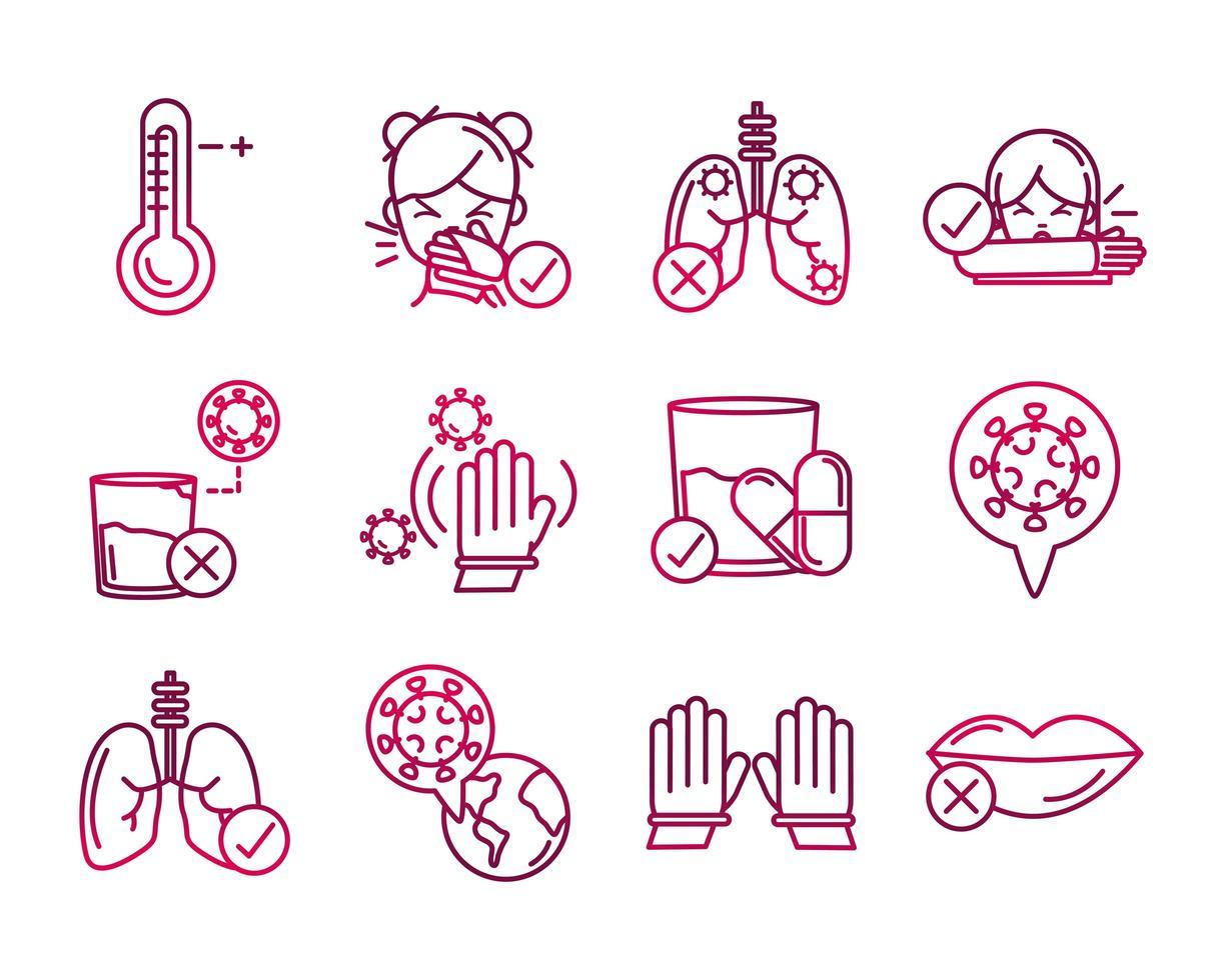 raccolta di icone di prevenzione del coronavirus in stile sfumato vettore