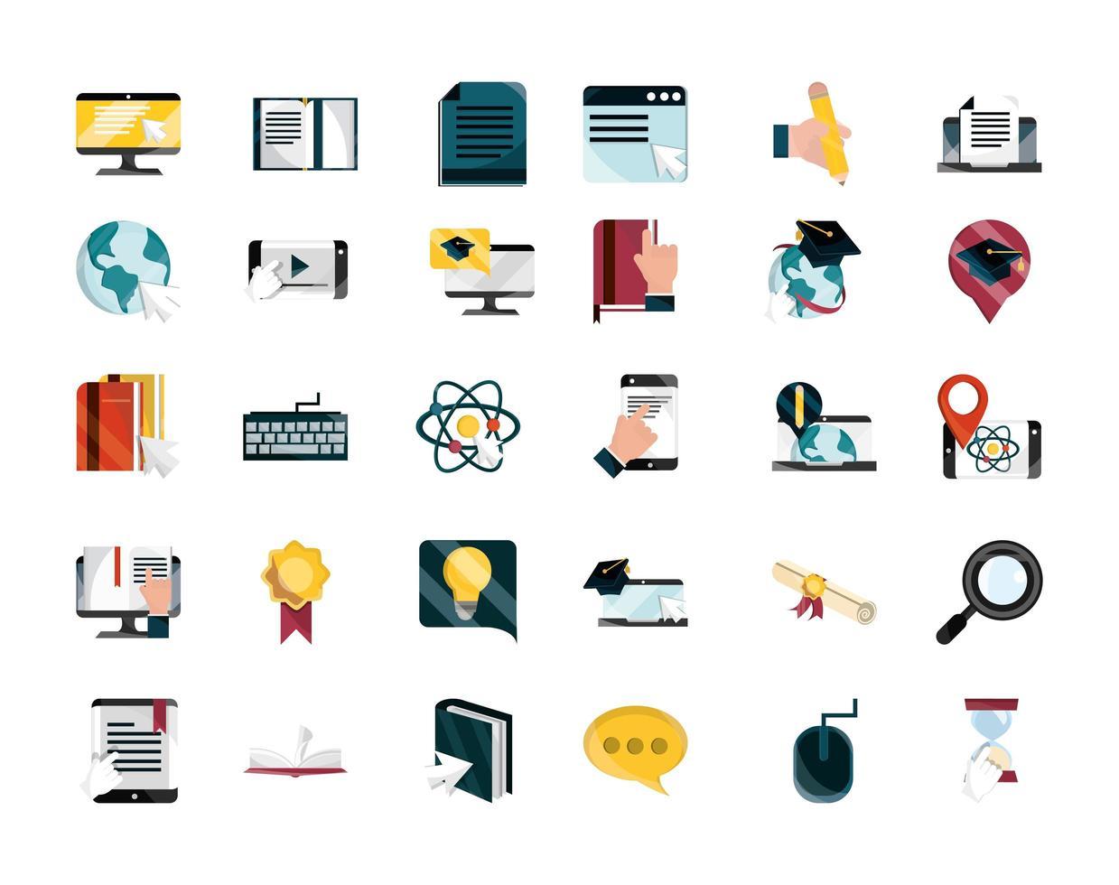 set di icone in stile piatto formazione online vettore