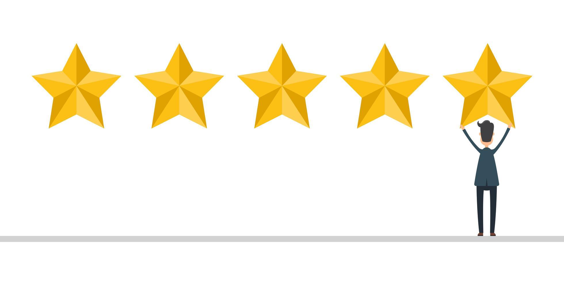 uomo d'affari in tuta dare una recensione di 5 stelle vettore