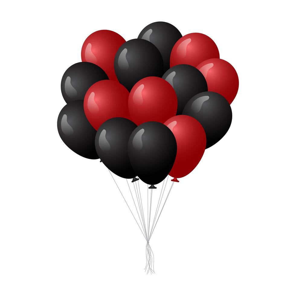 palloncini di compleanno rossi e neri realistici vettore