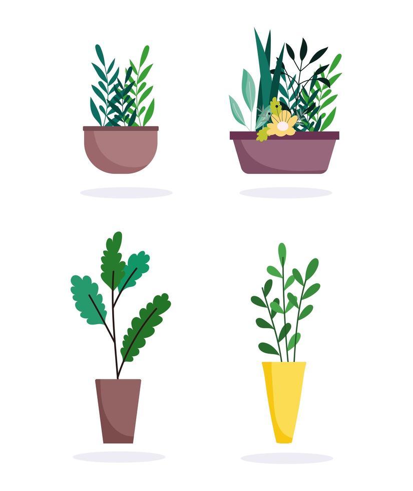 set di icone di interior design di piante in vaso vettore