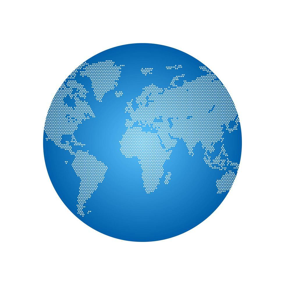 puntini globo del mondo isolato vettore