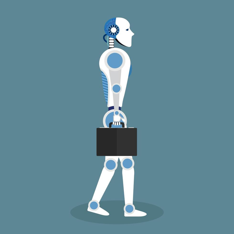 robot con valigetta in design piatto vettore