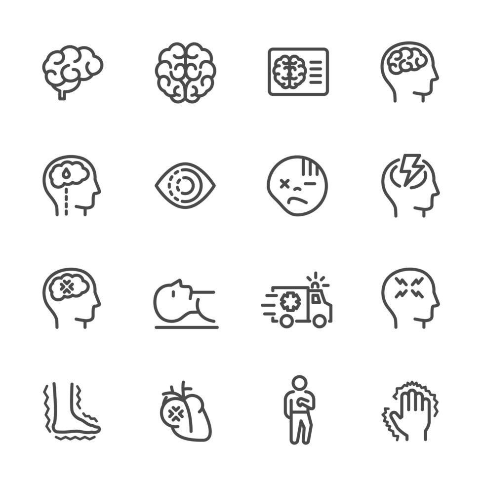 set di icone linea pittogramma lesioni cerebrali vettore