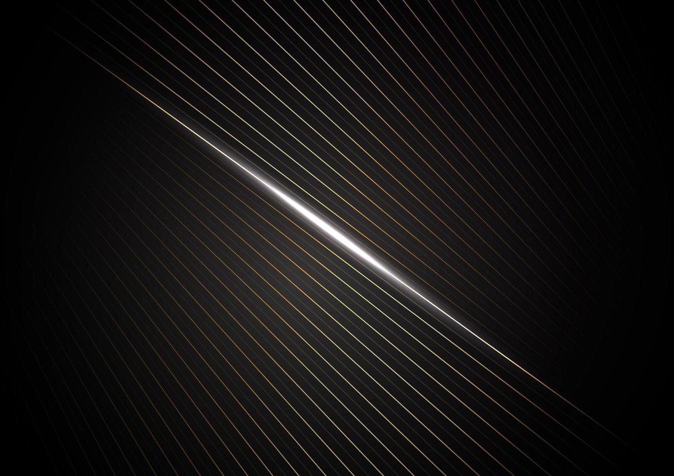 linee oro chiaro in movimento sfondo nero vettore