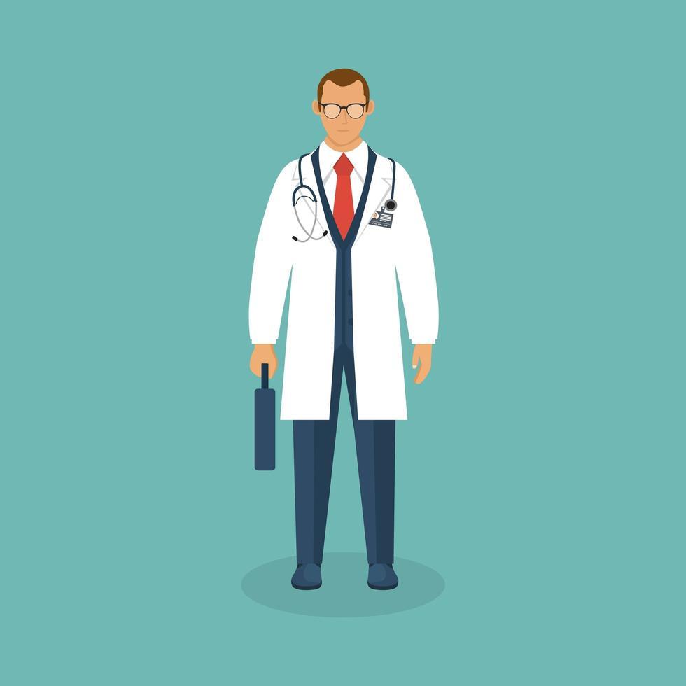 medico con valigetta in design piatto vettore