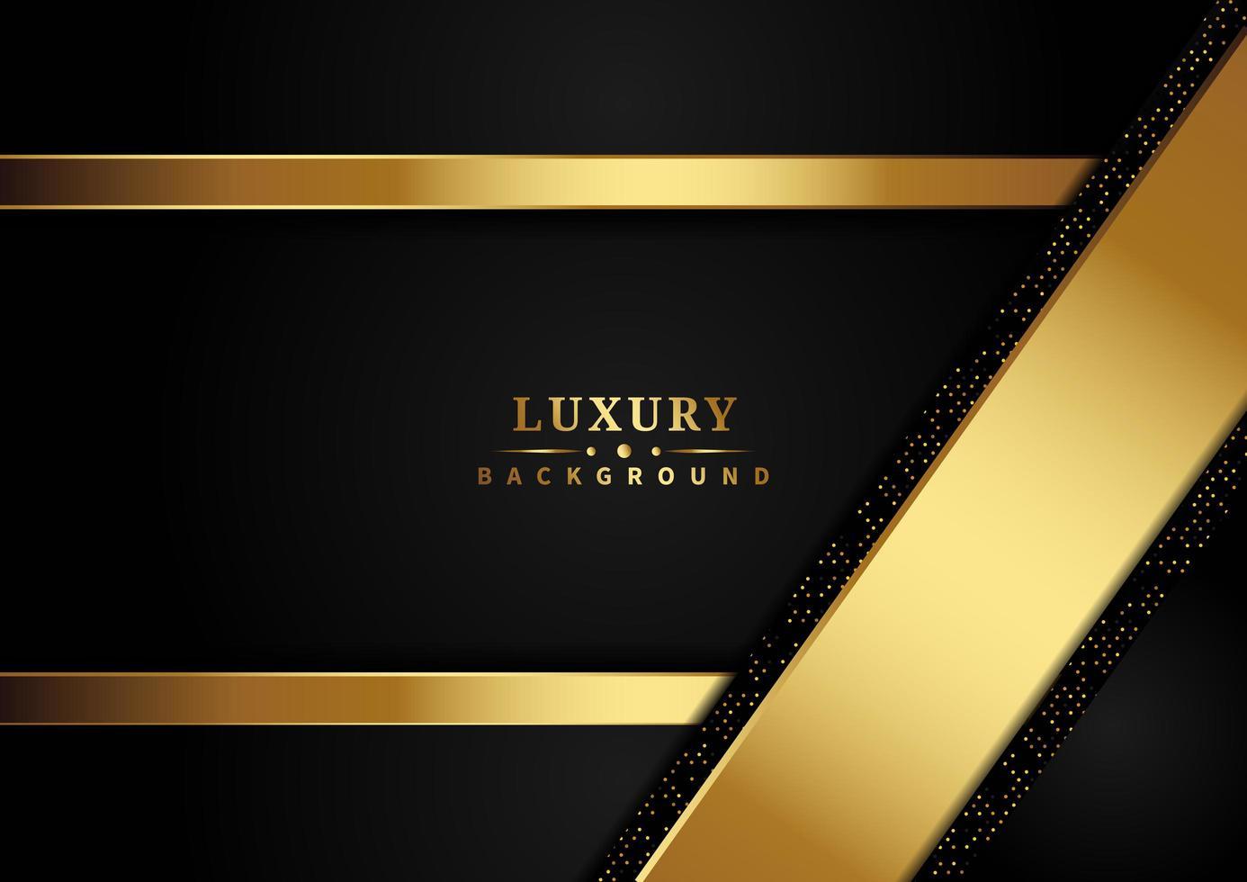 nastri d'oro di lusso ed effetti glitter che si sovrappongono su sfondo scuro vettore