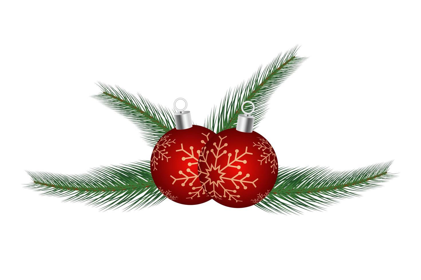 ornamento di Natale con palla rossa vettore