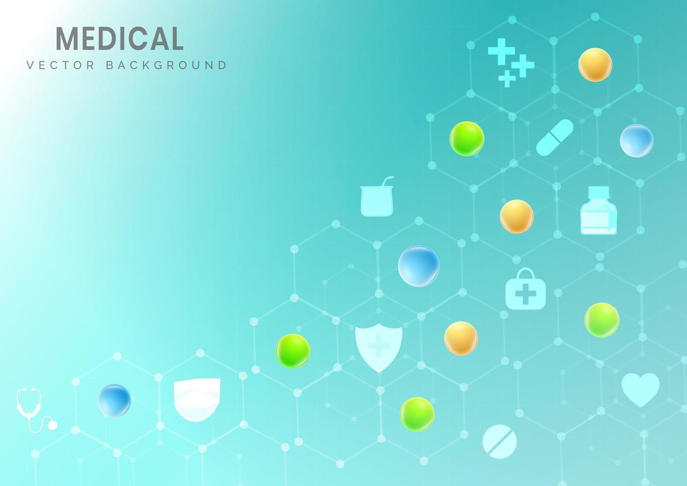 fondo del modello medico esagonale con icone di scienza vettore