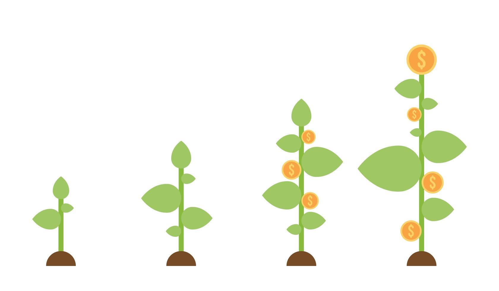pianta che cresce con monete del dollaro vettore