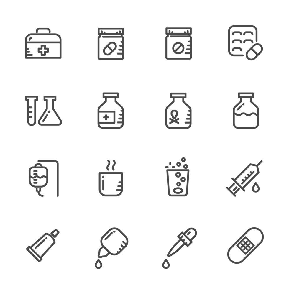 set di icone di pillole e farmaci vettore