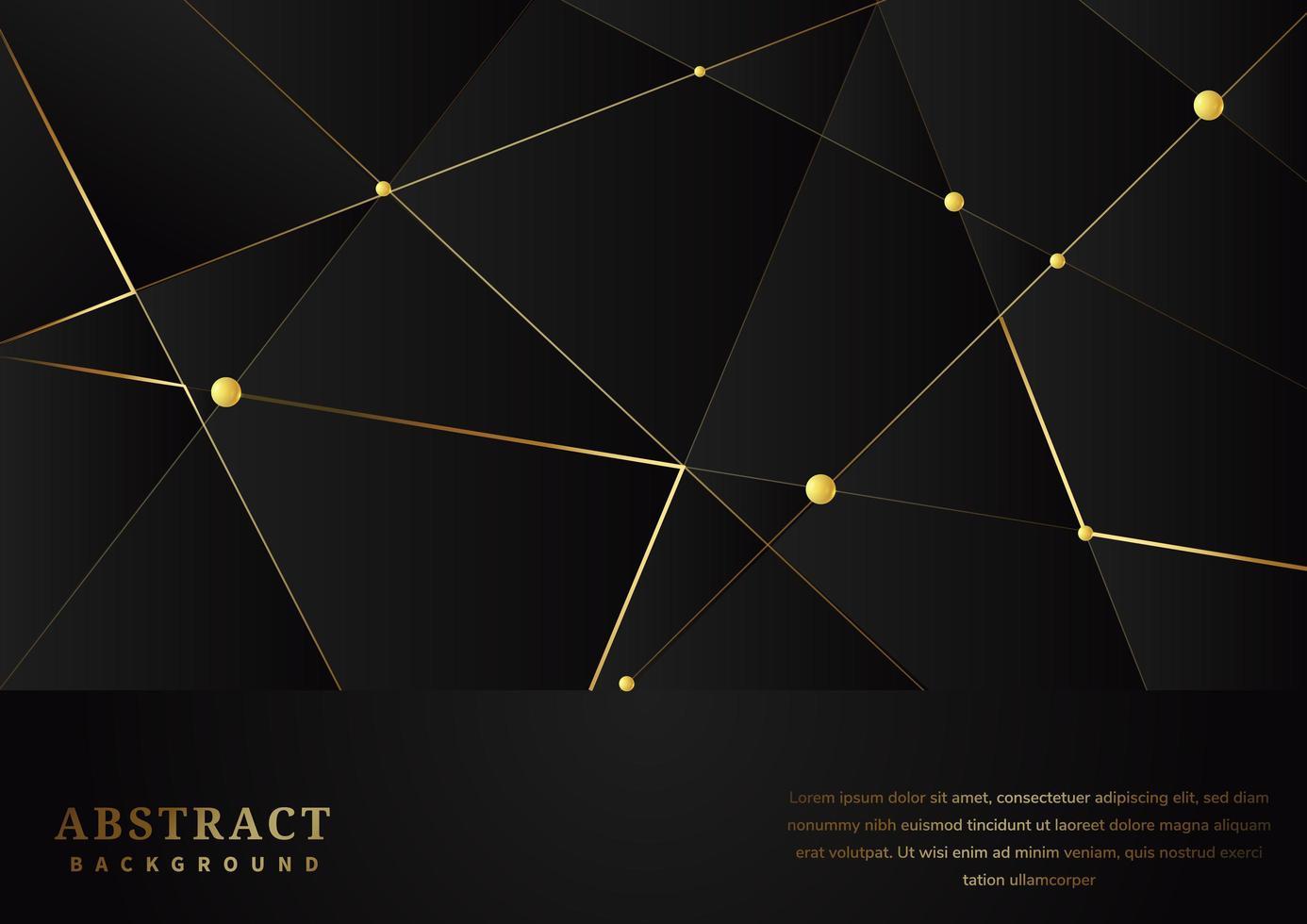 modello astratto triangoli con linee d & # 39; oro su sfondo nero vettore