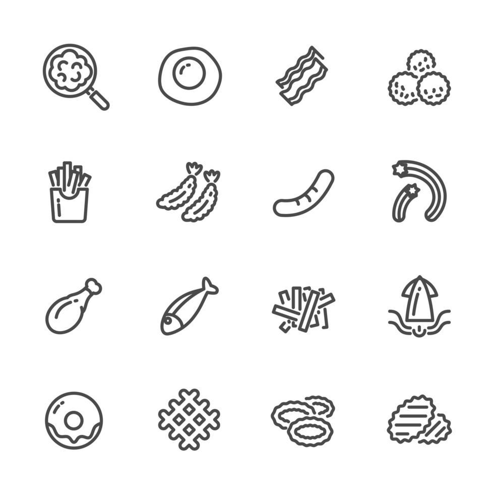 set di icone di cibi fritti e cibi ricchi di grassi vettore