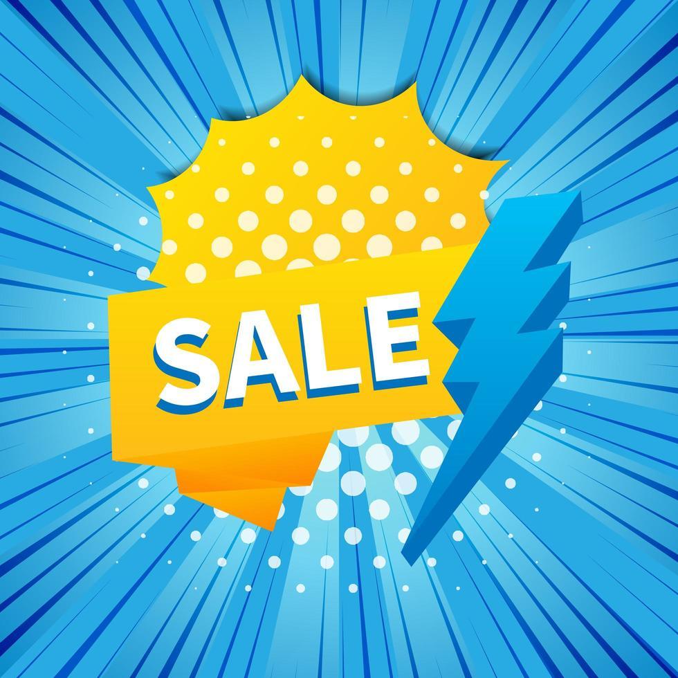 banner di vendita flash blu e giallo vettore