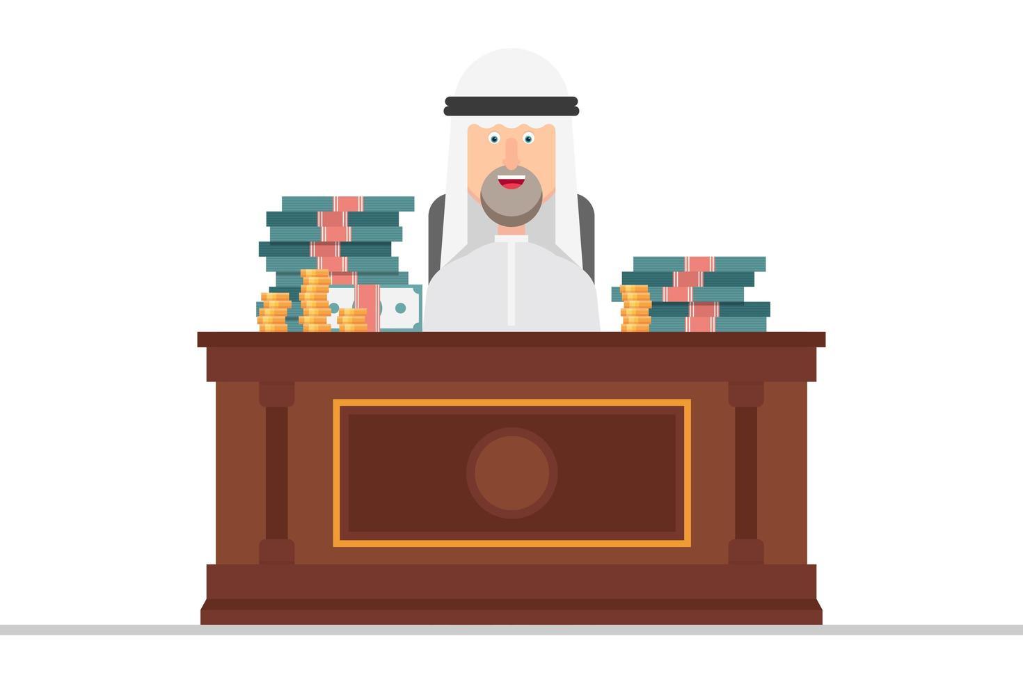 uomo d'affari arabo in un ufficio pieno di soldi vettore