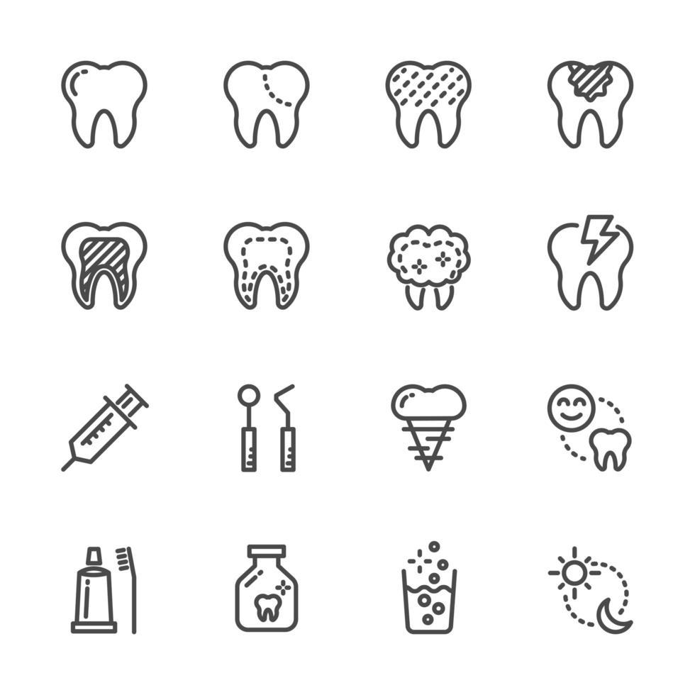 set di icone pittogramma cure odontoiatriche vettore