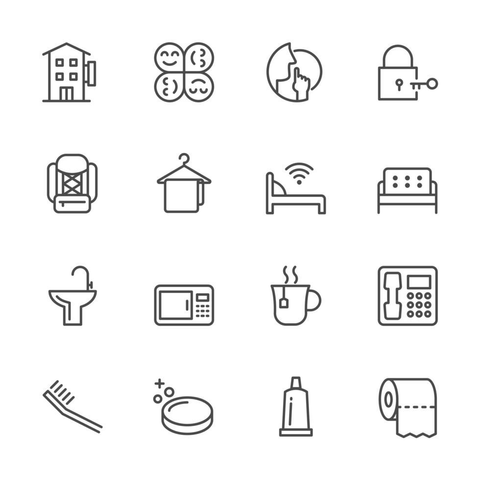 collezione di icone di viaggiatori e backpacker vettore
