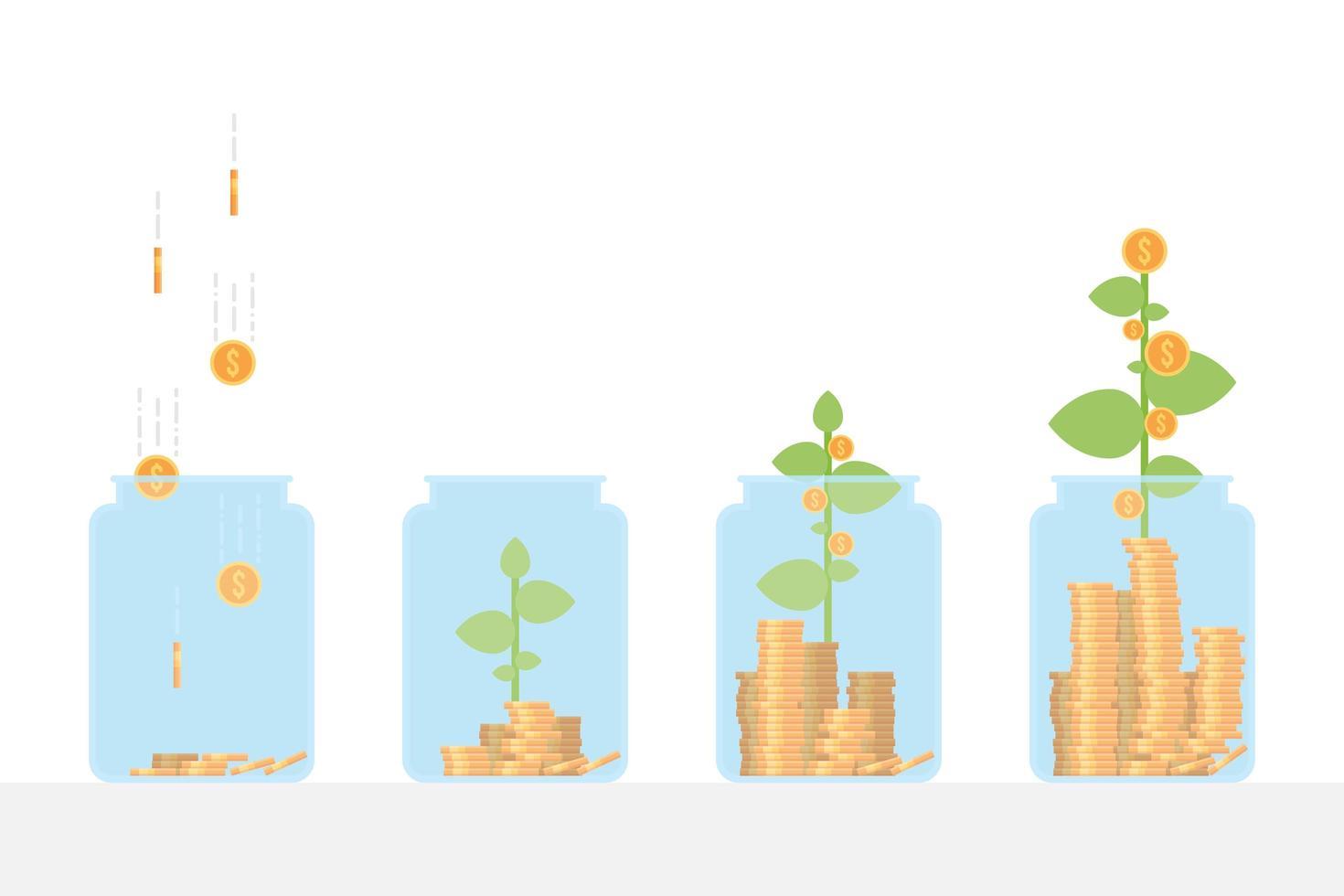 pianta che cresce denaro vettore