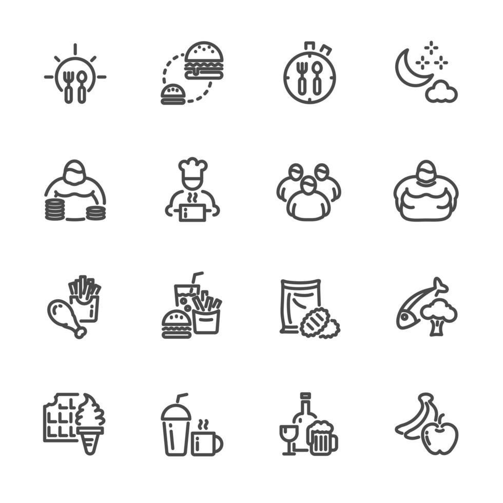 fattori di rischio comportamentali dell'obesità, set di icone del pittogramma vettore