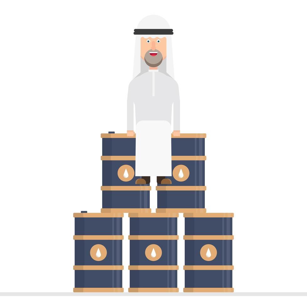 uomo d'affari arabo si siede su barili di petrolio vettore