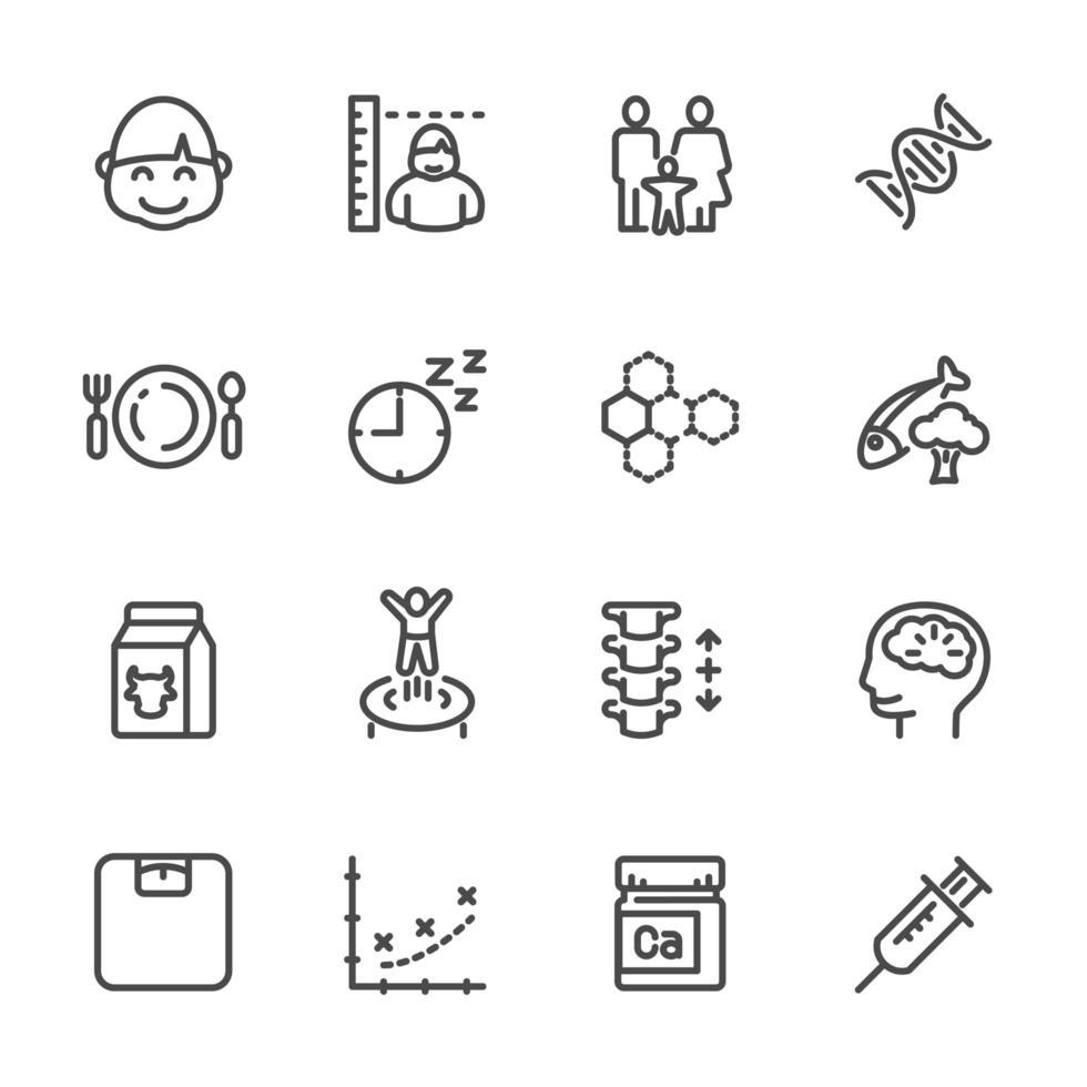 genetica e set di icone di stile di vita sano vettore
