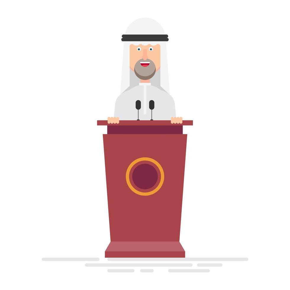 uomo d'affari arabo parla sul podio vettore