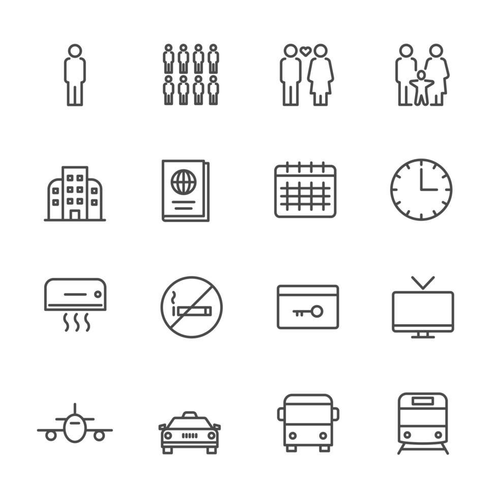 collezione di icone di trasporto vettore