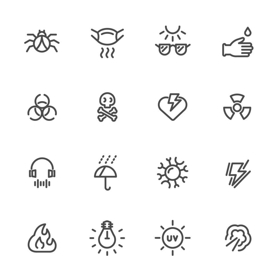 set di icone di inquinamento e equipaggiamento protettivo vettore