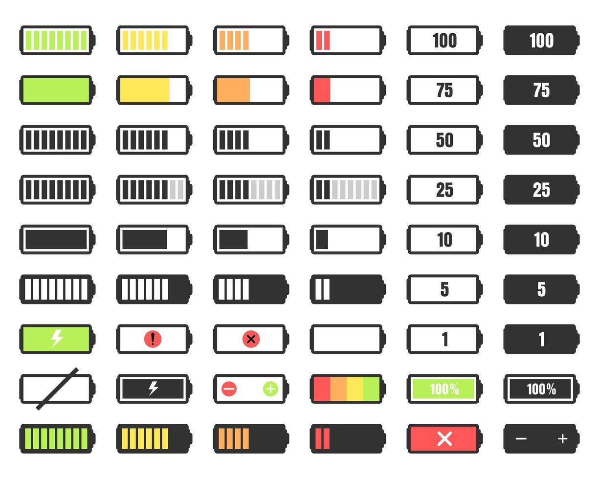 livello di carica della batteria impostato vettore