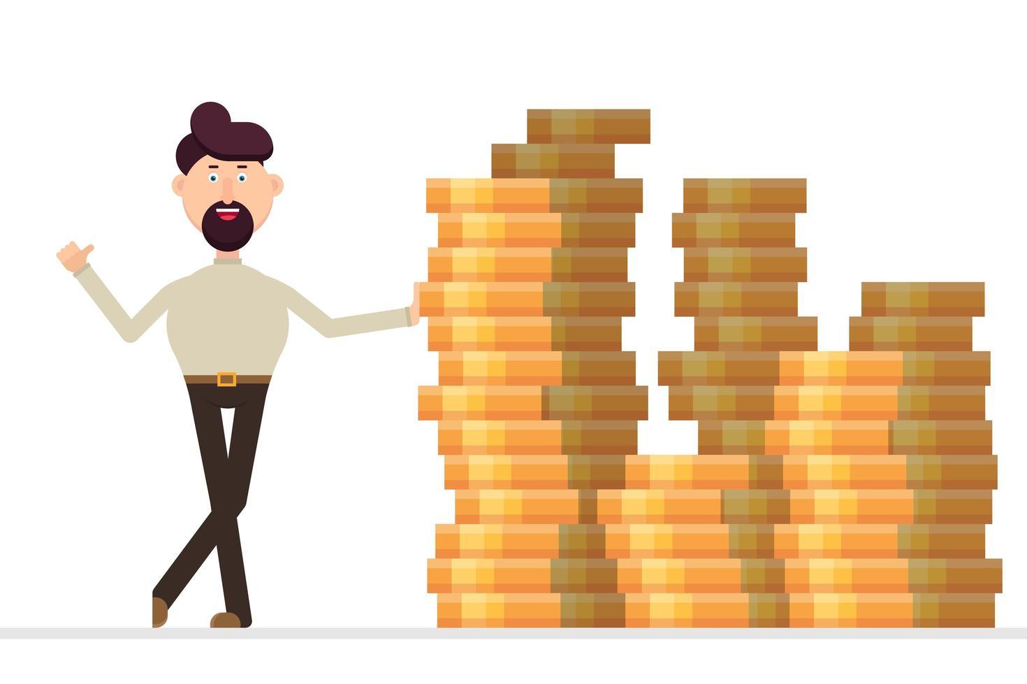 uomo d'affari in piedi a un enorme mucchio di soldi vettore
