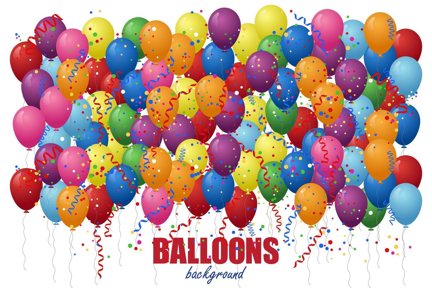 palloncini con sfondo di coriandoli. vettore
