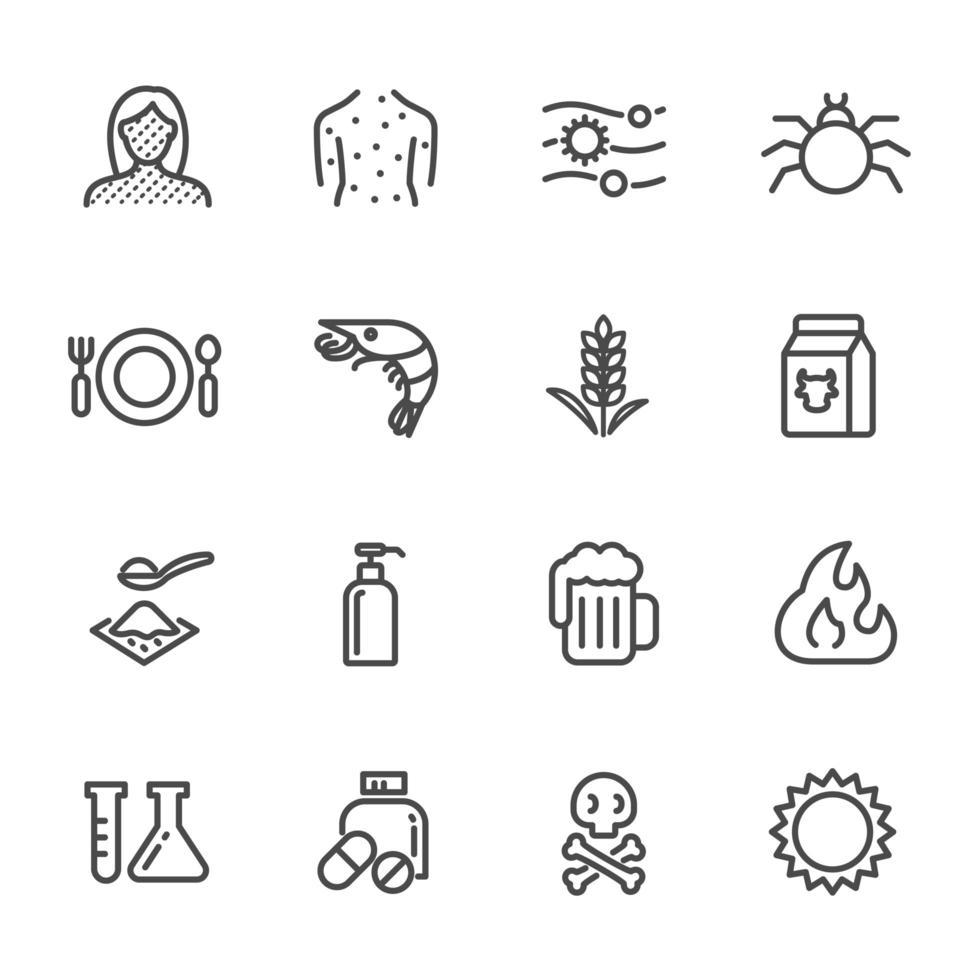 set di icone pittogramma cause di allergie vettore