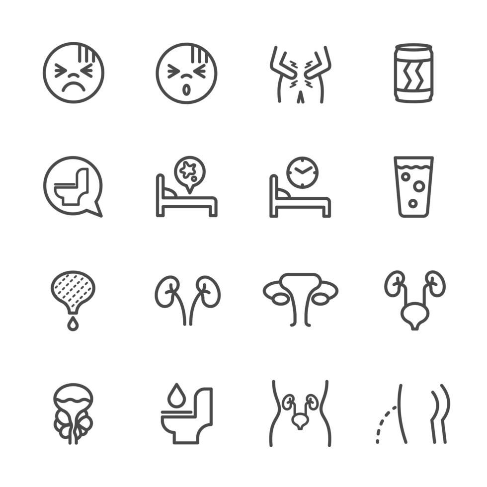 set di icone di malattie del sistema urinario vettore